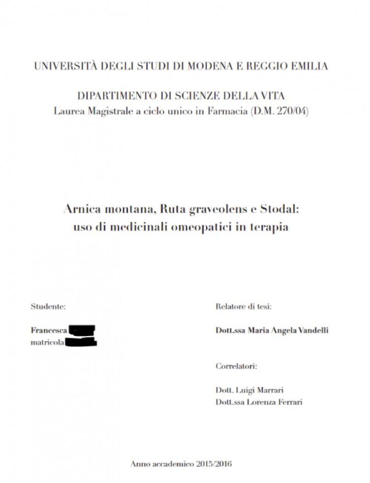 Tesi di laurea in omeopatia a Modena