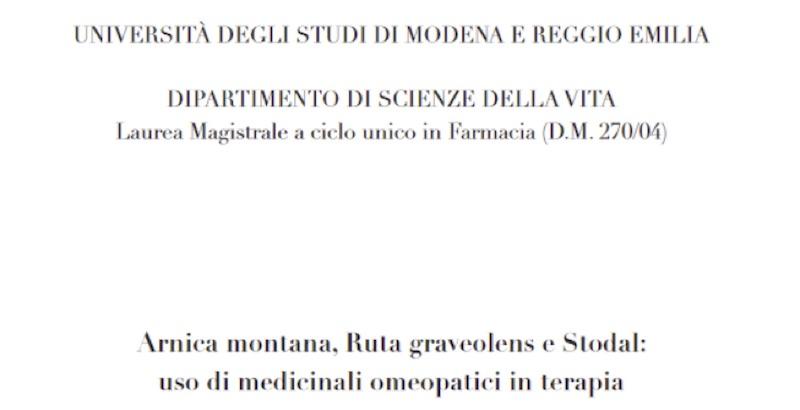 Omeopatia: L'Università Di Modena Risponde A Medical Facts E Peggiora La Situazione