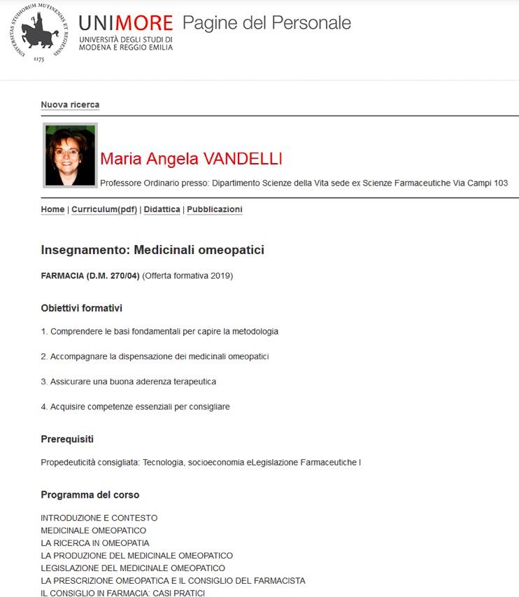 Università Modena omeopatia corso