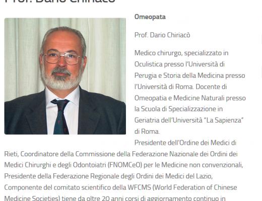 Omeopata Presidente Ordine Medici Rieti